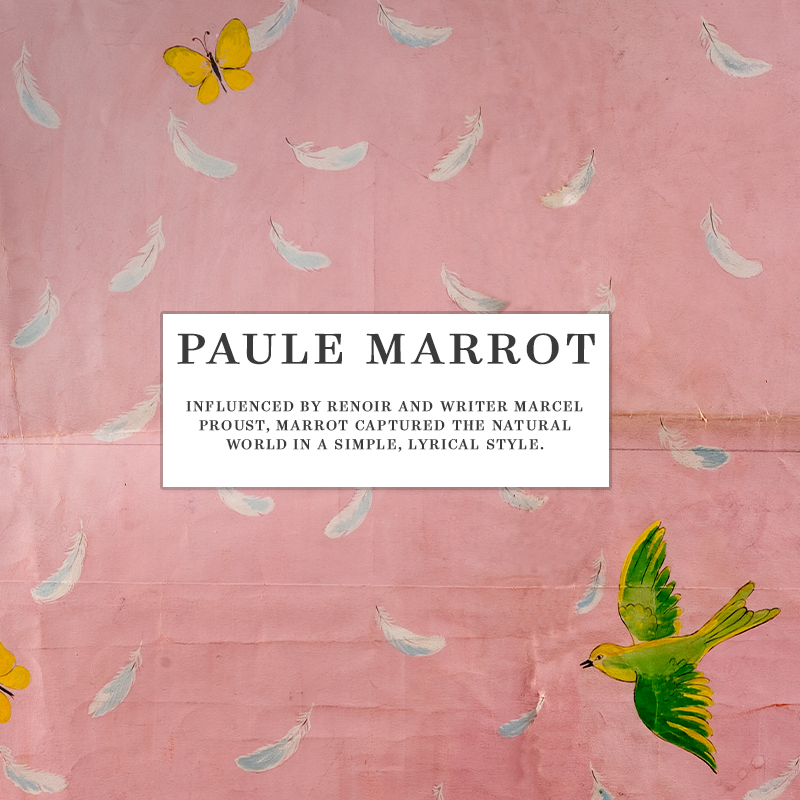 SOAR OVER REALMS OF SERENITY, UNFETTERED AND FREE.INFLUENCED BY RENOIR AND MARCEL PROUST, MARROT CAPTURED THE NATURAL WORLD IN A SIMPLE, LYRICAL STYLE THAT MAKES HER WORK AS ENGAGING AND CONTEMPORARY TODAY AS IT WAS DURING THE HEIGHT OF HER POPULARITY.